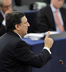 El presidente de la Comisión Europea, José Manuel Durao Barroso, durante su intervención en el pleno de la Eurocámara. | AFP