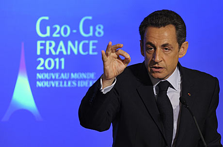 Nicolas Sarkozy, presidente de Francia, durante su discurso de presentación de su agenda para la presidencia del G-20. | Reuters