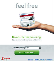 Captura del anuncia de Opera en su página 'web'