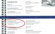 Fragmento de la agenda escolar que incluye la página 'web' denunciada