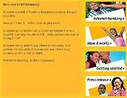 Pantalla del sitio 'web' del banco MTN.