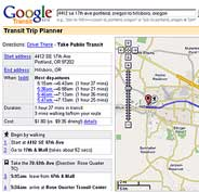 Captura de Google Transit