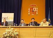 De izda. a dcha.: Juan Quemada, ETSIT; José Barberá, SETSI; Fernando Fournón, Telefónica I+D; Juan Riera, ETSIT. (Foto: elmundo.es)