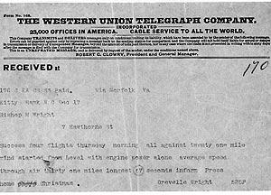 Un telegrama enviado por Western Union en 1903 (Foto: AP Photo)