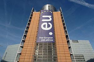 Una pancarta de promoción de los '.eu' desplegada en la sede de la Comisión. (Foto: UE)