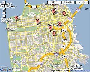 Puntos de acceso WiFi 'abiertos' en San Francisco según ShareMyWifi.com.