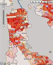 Densidad de población en San Francisco. (Foto: World Wide Webfoot Maps)