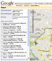 Captura de una ruta en Google Maps.