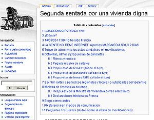 'Wiki' creado por Ignacio Escolar para coordinar las sentadas por una vivienda digna.