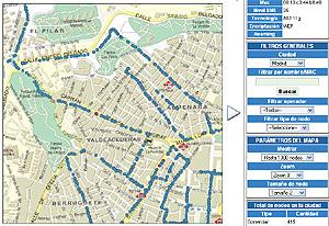 Captura del mapa de puntos de acceso del Observatorio Wireless.