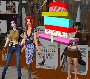 Avatares 'comprando' en 'Second Life'. (Foto: Pantalla de S.L.)