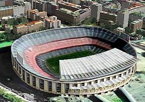 Vista del estado del FC Barcelona, en el callejero 3D de QDQ.