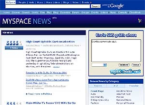 Pantalla de MySpace News.