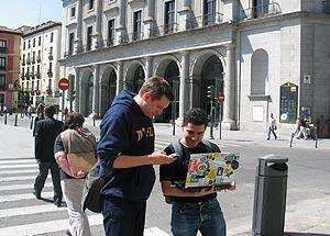 Steve Coast, fundador de OpenStreetMap, e Iván Sánchez, de OSM Madrid.