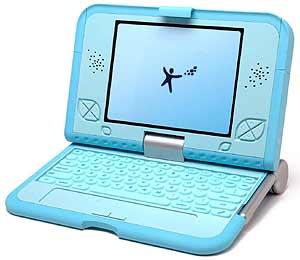 Modelo azul del 'Ordenador de los 100 dólares' de Nicholas Negroponte. (Foto:'One laptop per child')