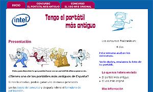 Pantalla de la página web www.tengoelportatilmasantiguo.com