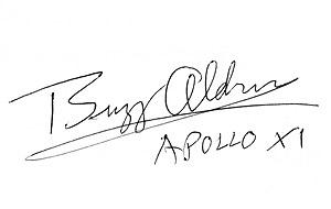 Autógrafo de Buzz Aldrin.