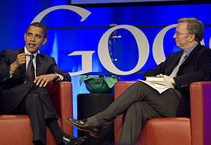 Barack Obama y Eric Schmidt, consejero delegado de Google. (Foto: AFP)