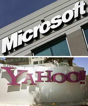 Imágenes de carteles de Microsoft y Yahoo!. (Foto: AFP)
