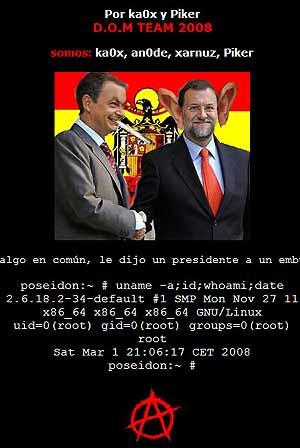 Fotomontaje insertado por los 'hackers' en la página web de IU pocos días antes de las elecciones generales del 9M.