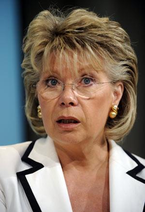 La comisaria europea de Telecomunicaciones, Viviane Reding. (Foto: AFP)