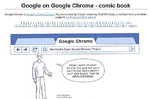 Pantalla del cómic en el que se explica el funcionamiento de Chrome.