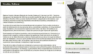 Detalle de un pantallazo del perfil de Baltasar Gracián en Espasa.com, antes de ser eliminado. (GaedDal)