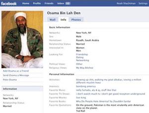 Ejemplo de un perfil de Osama Bin Laden creado por los usuarios