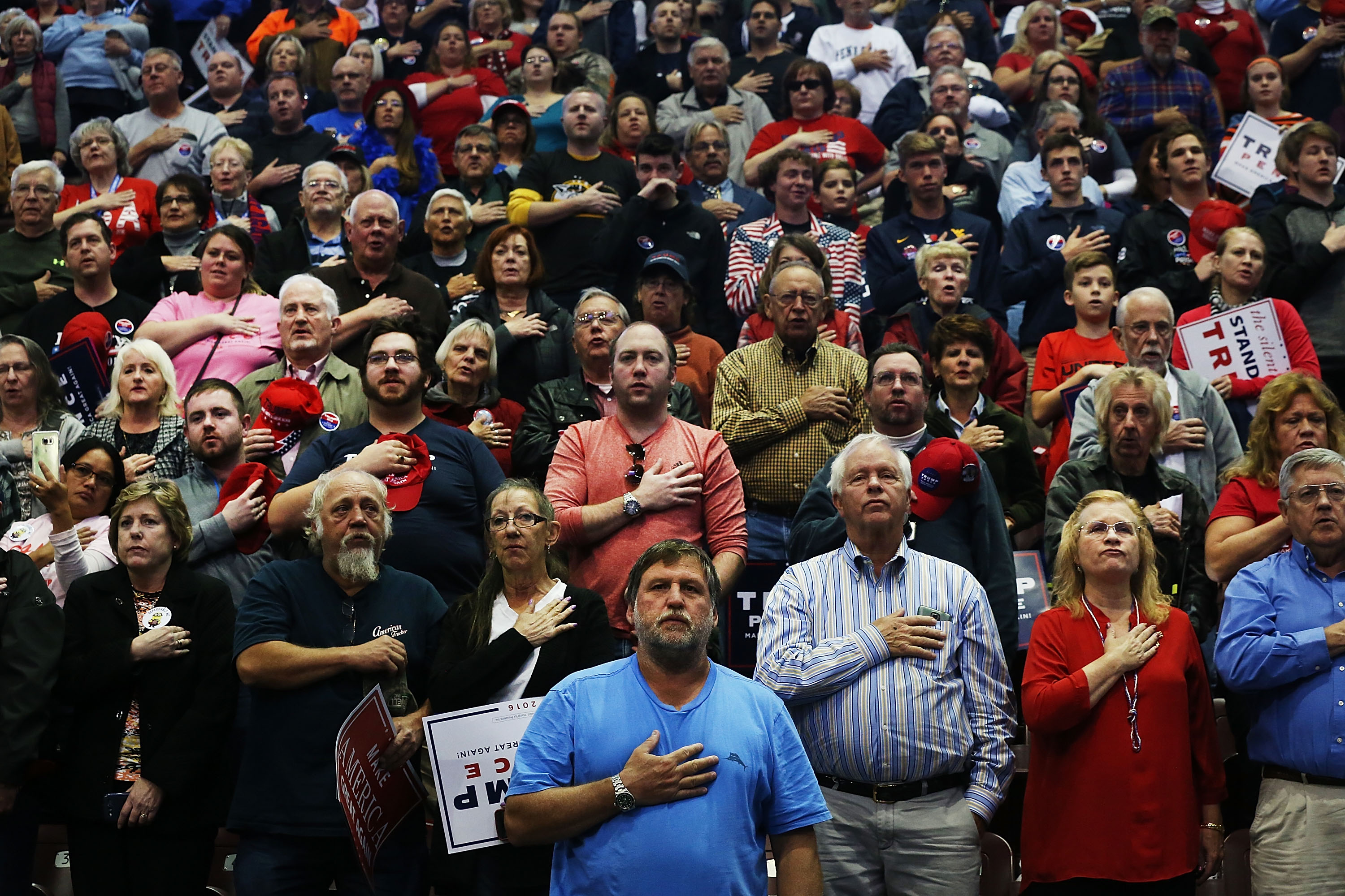 Trumpers: Seguidores de Donald Trump, en un mitin del entonces candidato republicano en Pennsylvania. (Spencer Platt/Getty Images)