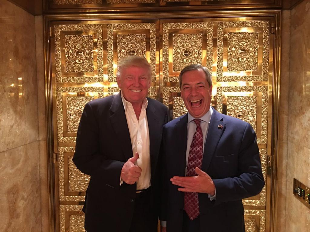 Trump recibió a Farage, el líder de UKIP y promotor del Brexit, pocos días después de su victoria. | @Nigel_Farage