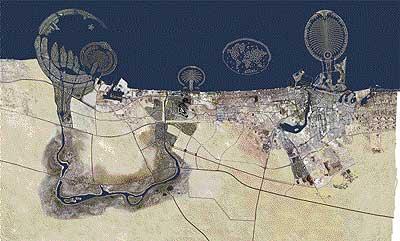 """Visible desde la Luna. Este fotomontaje muestra el aspecto que tendrá el litoral del emirato de Dubai cuando se hayan finalizado los proyectos (alguno ya lo está, prácticamente). Sus promotores aseguran que si se pudiese, """"Las Palmeras"""" se verían a simple vista desde la Luna."""