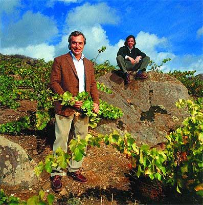 Barrancos de pizarra. Carlos Sainz y su socio, Telmo Rodríguez, en su viñedo del puerto de Arrebatacapas, en Cebreros (Ávila)