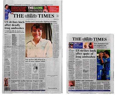 """Dos tamaños. Fue """"The Times"""", hace 293 años, el primer diario que imprimió en formato sábana."""