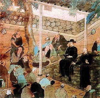 En Oriente. Javier lee su primer catecismo japonés en Yamaguchi. Allí le respetaron por su vasta cultura.