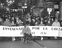 Una manifestación de afectados por el aceite tóxico, en 1994./EL MUNDO