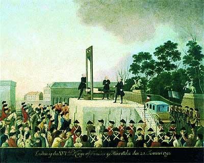 """Momento histórico. Ilustración de la ejecución de Luis XVI, el 21 de enero de 1793, en la Plaza de la Revolución de París. Al soberano se le permitió llegar en carroza escoltada, pero no dirigirse al público. Sus últimas palabras fueron: """"Pueblo de Francia, muero inocente""""."""
