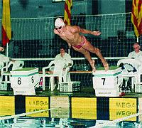 Albert Rivera, en las piscinas de la Barceloneta en el año 1995. Fue dos veces campeón júnior de Cataluña de braza.