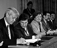 María Jesús San Segundo, en el centro, en la reunión de ministros europeos. / CE.