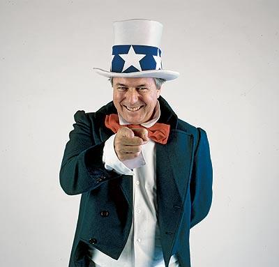 """Busca """"reclutas"""". Richard Vaughan, ataviado como el Tío Sam, insta a los lectores de EL MUNDO a aprender inglés."""
