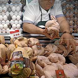 Un comerciante ordena uno de los estantes de pollos y huevos, dos de los productos de primera necesidad que más pueden subir por culpa de los cereales. / A. M. XOUBANOVA