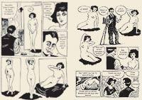 De musa a pareja. En esta viñeta del libro-cómic se plasma la relación amorosa que mantuvo con el fotógrafo americano Man Ray.