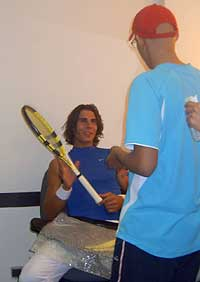 Álvaro y su ídolo, Rafa Nadal.