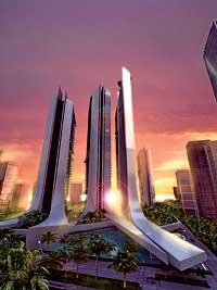 DISEÑO ESPAÑOL. De vértigo. En primer plano, simulación del perfil de tres de las siete torres que levantará Acero. Antes de colocar el primer ladrillo, ya está vendida gran parte de la obra.