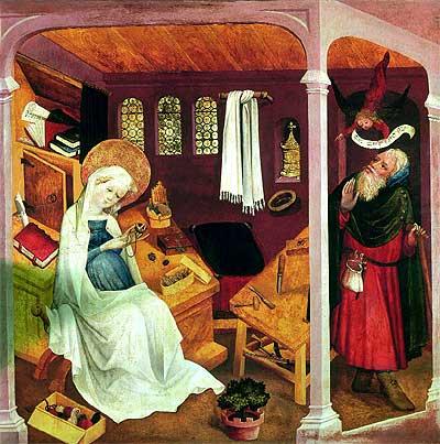 Prueba divina . Según recoge la Biblia, un ángel se presentó en sueños a San José para eliminar sus suspicacias respecto a la paternidad del hijo que esperaba María, como refleja La duda de San José, obra anónima del s. XV.