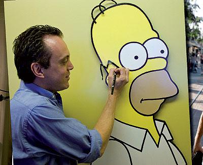 Javier Pineda. Este creativo barcelonés, que realiza los fondos de la serie Los Simpsons, llegó a Los Ángeles hace 18 años.