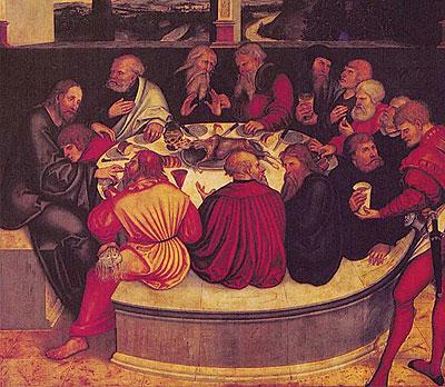 Cordero para cenar. Última cena pintada en 1547 por Lucas Cranach el Joven y su padre, el Viejo.