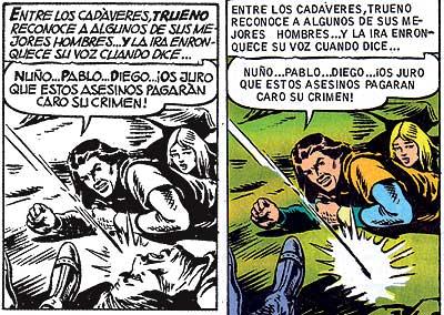 Ni cadáveres ni maldiciones:  La censura alcanzó a los dibujos y al texto. La cabeza de un muerto junto al Capitán Trueno que se podía ver en la versión de 1956 se elimina en la de 1969.