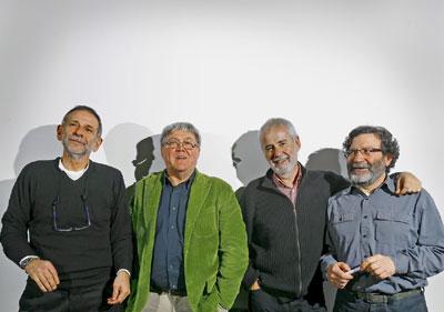 LOS ARTÍFICES DEL ESLOGAN: 2O AÑOS DESPUÉS. De izquierda a derecha, José María Lapeña, Luis Felipe Moreno, Tomás Corominas y Antonio Mellizo.
