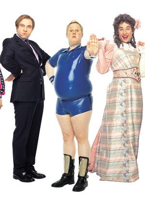 Sebastian, Daffyd y Emily, tres de los personajes de Little Britain.