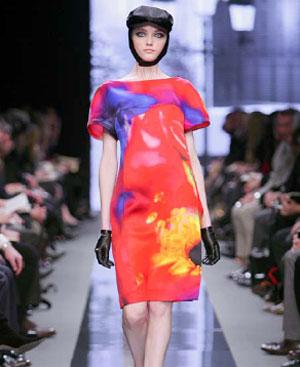 Vestido de Celine estampado con una imagen de Mika Ninagawa.